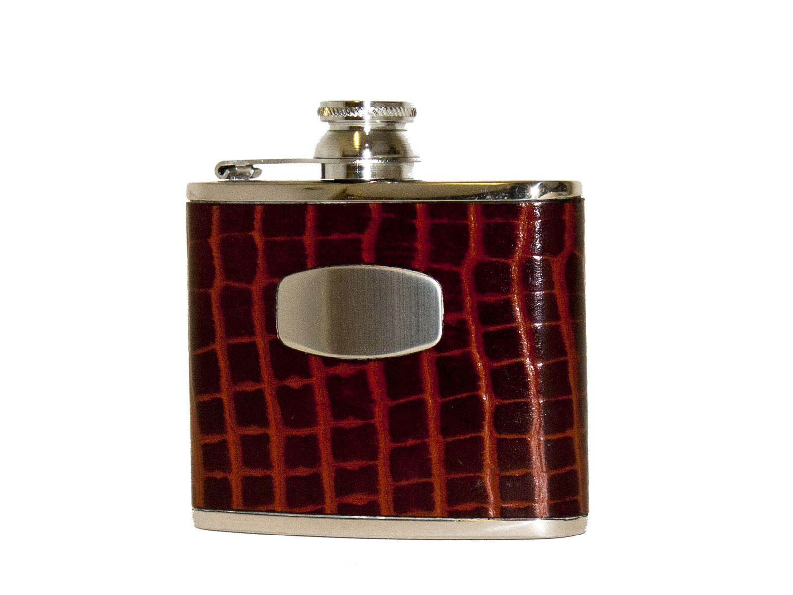 Bisley Croc Leather Hip Flask - 4oz