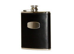 Bisley Black Leather Hip Flask - 6oz