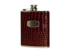 Bisley Croc Leather Hip Flask - 6oz