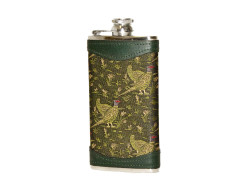 Bisley Pheasant Fabric and Leather Hip Flask - 6oz